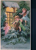 Fröhliche Weihnachten, Angelots Musiciens, Litho Gaufrée (2126) - Anges