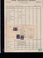 Une Facture   : Hotel  Métropole Pension  Avec Timbres    Année 1949 - Italie