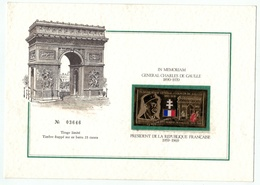 France // Autres // In Memoriam Général Charles De Gaulle Timbre En Or à Tirage Limité - De Gaulle (General)