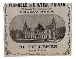 Ancienne Part D'une Etiquette Chromo Chateau Priban, Macau - Médoc, Vin - Cromos