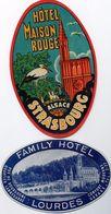 2 Etiquettes FAMILY HOTEL à Lourdes  Rue De Bourgogne Quartier Lannedarre Et Hotel Maison Rouge à Strasbourg - Hotel Labels