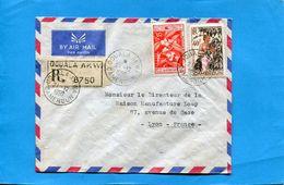 MARCOPHILIE-CAMEROUN- Lettre REC>françe-cad DOUALA Akwa- 1959-3stamp Café Et Ceuillette - Cameroun (1915-1959)