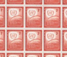 United Nations Full Sheet Of MNH Stamps 1957 Security Council 3c Red - New York – UN Headquarters