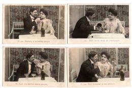 """COUPLE . """" UN DOIGT DE CHAMPAGNE """" . SÉRIE DE 5 CARTES POSTALES - Réf. N°8682 - - Parejas"""