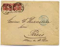Cad PARIS ETRANGER (bleu) Sur Lettre De BERLIN (Allemagne) / Janvier 1887 - Marcophilie (Lettres)