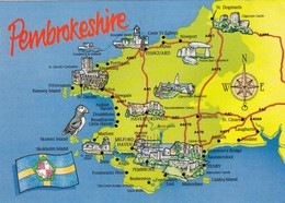 Postcard Map Of Pembrokeshire Wales My Ref  B22465 - Maps
