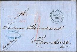 HAMBURG VORPHILA 1857, St. P.A., Ovalstempel Rückseitig Auf Briefhülle Von BRADFORD-YKS Nach Hamburg, Zarter Roter T-Ste - Thurn And Taxis