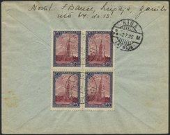LETTLAND 110A BRIEF, 1925, 30 S. 300 Jahre Libau, Gezähnt, Im Viererblock Rückseitig Auf Einschreibbrief, Sonderstempel, - Lettland
