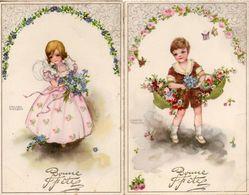 Hannes Petersen - Enfant Fillette Garçon Arc De Fleurs X 2 - Petersen, Hannes