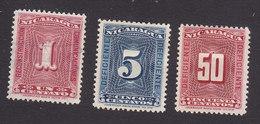 Nicaragua, Scott #J42, J44, J48, Used/Mint No Gum, Postage Due, Issued 1900 - Nicaragua