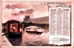 Chromos Saxoléine Pétrole De Sureté, Lampe à Pétrole Calendrier Trimestre 1896 - Calendars