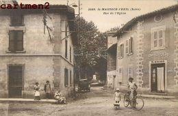 SAINT-MAURICE-L'EXIL RUE DE L'EGLISE ANIMEE CAFE M. GIVORD 42 LOIRE - Francia