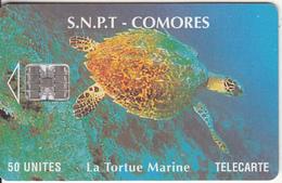 COMOROS ISL. - Marine Turtle(red CN At Bottom), Chip SC7, Used - Comoros