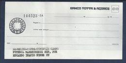 Cheque Banco Totta & Açores,Barreiro.Comissão Do Campo Futebol Do Barreirense.Check.Barreirense Football Stadium.Rare. - Cheques & Traveler's Cheques