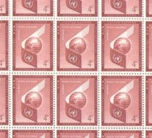 United Nations Full Sheet Of MNH Stamps 1957 Airmail 4c Red - New York – UN Headquarters