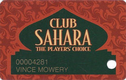 Sahara Casino - Las Vegas, NV - 2nd Issue Slot Card - Cpica 23830 Over Mag Stripe - Casino Cards