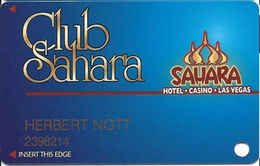 Sahara Casino - Las Vegas, NV - Slot Card - Last Line Reverse Starts 'reserves' / NO Text Over Mag Stripe - Casino Cards