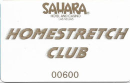 Sahara Casino - Las Vegas, NV - Homestretch Club Slot Card - Used In The Race Book - Casino Cards