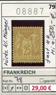 Frankreich - France - Francia -  Michel 78 - * Charn. (scan Renversée) - Michel 250,00 Euro - 1876-1898 Sage (Type II)