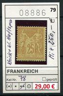 Frankreich - France - Francia -  Michel 78 - ** Abimée (scan Renversée) - Michel Pour * 250,00 Euro - 1876-1898 Sage (Type II)