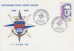 Carte  FRANCE   Centenaire    ECOLE  SANTE   NAVALE    BORDEAUX    1990 - Militaria
