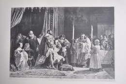 GRAVURE 1232 / LES DERNIERS MOMENTS DE LEONARD DE VINCI Par ADOLPHE MOUILLERON - Prints & Engravings