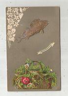 Cp  à Rajout , Gaufrée , Voyagée 1907 , Péché Dans Le Fleuve De L'amitié , Poissons ,fleurs - Fiori