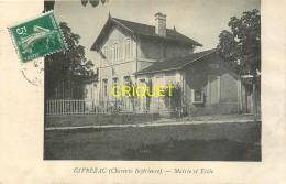 17 Givrezac, Mairie Et Ecole, Affranchie 1908 Et Cachet Lettre G, Cliché Pas Courant - France