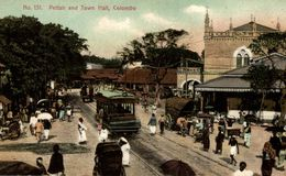 Pettah And Town Hall, COLOMBO, Très Animé - Tramway SRI LANKA . CEYLON CEYLAN - Sri Lanka (Ceilán)