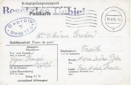 Carte En Franchises'un Prisonnier De Guerre Du Stalag IV D Pour Versailles Avec Cachet Zone Occupée ( Besetzes Gebiet) - Allemagne