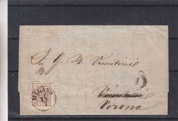 Italie - Lombardo Vénétie - Lettre De 1855 - Oblit Milano - Exp Vers Verona - Timbre Pli Accordeon  ? - Lombardo-Vénétie