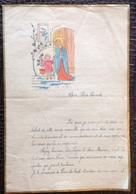 Manuscrit. 2. Lettre Avec En Entête Un Dessin Religieux Datée De 1937. - Manuscritos