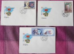Sowjetunion USSR CCCP 1986 - Ziolkowskij, Koroljow, Jurij Gagarin - MiNr 5591-5593 FDC - FDC & Gedenkmarken