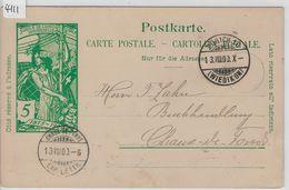 1900 UPU PK 31 - Stempel: Zürich 16 Wiedikon To Chaux-de-Fonds 13.VIII.00 - Entiers Postaux