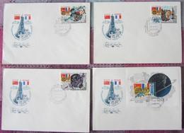 Sowjetunion USSR CCCP 1982 - Gemeinsamer Weltraumflug UdSSR-Frankreich - MiNr 5190-5192 + BL 156 FDC - FDC & Gedenkmarken