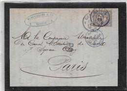 LETTRE 30C YV Nº 46 DE GENEVE A PARIS EN 1868 A LA COMPAGNIE UNIVERSELLE DU CANAL DE SUEZ - 1862-1881 Helvetia Sentada (dentados)