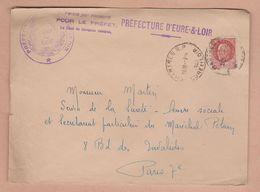 Enveloppe De La Préfecture D'Eure & Loir Pour Les Oeuvres Sociales De Mr Le Maréchal Pétain - 1942 Militaria - Marcophilie (Lettres)