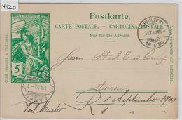 1900 UPU PK 31 - Stempel: Affoltern Am Albis To Aarau 1.IX.00 - Entiers Postaux