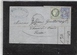 LETTRE DE TOURNUS A SUISSE. YV Nº 53 ET 78. OBLITERATION CONDUCTEUR DE GARE - 1871-1875 Ceres