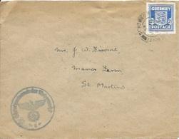 Timbres Occupation Allemande N° Michel 3 Seul  Sur Enveloppe Pour St Martins - Guernsey