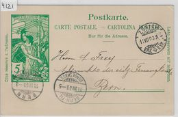 1900 UPU PK 31 - Stempel: Zürich To Bern Fil. Bundeshaus 11.VII.00 - Postwaardestukken
