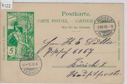 1900 UPU PK 31 - Stempel: Zürich 3 Fil. Bahnhof To Zürich 1 9.VIII.00 - Postwaardestukken