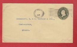 USA  --  Entier Postal --  De New York  -  Pour Châteauroux - 1921-40