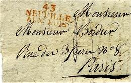 1822- Lettre De 43/NEUVILLE/AUX BOIS ( Loiret ) 36 X 17 Mm Rouge Taxe 4 D. Pour Paris - 1801-1848: Precursors XIX