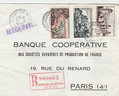 Recommandée Tampon Rouge De Boulogne Billancourt Pour Paris Yvert  981 Ajaccio -1039 Valentré-1040 Uzerche - Marcofilia (sobres)
