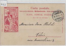 1900 UPU PK 32 - Stempel: Zürich 3 Fil. Bahnhof To Paris 20.IX.00 - Entiers Postaux