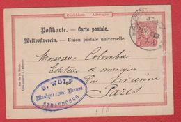 Allemagne  -  Entier Postal De Strasbourg  -  Pour Paris  --1890  - Abimée - Entiers Postaux