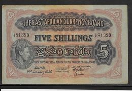 Kenya -  5 Schillings - 2-1-1939 - TB/TTB - Kenya