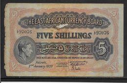 Kenya -  5 Schillings - 2-1-1939 - B/TB - Kenya