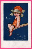 Illustration FRED SPURGIN - Femme Sur Planche Au Dessus De La Mer - Voilier - N° 591 - Spurgin, Fred
